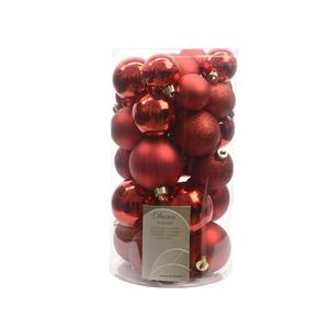 Boules de Noël rouge mat et brillant tailles assorties boite de 30 212520
