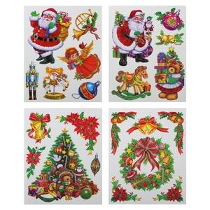 Décor fenêtre à paillettes 4 assortis multicolores 38 x 30 cm 213601