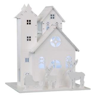 Maison en bois blanc 3 LED d'une hauteur de 16 cm 213668