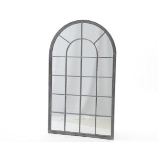 Miroir fenêtre en métal gris blanchi 62x2x110 cm 225811