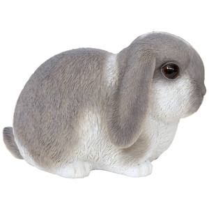 Statue de jardin petit lapin gris et blanc 16,5 x 10 x 10,5 cm 226096