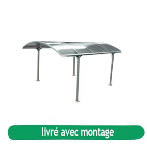 Carport en aluminium toit arrondi en polycarbonate livré et monté 226837