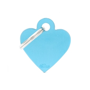 Médaille basic petit cœur pour chien en aluminium bleu azur 227392