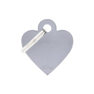 Médaille basic petit cœur pour chien en aluminium gris 227394