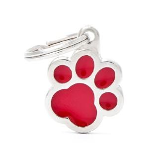 Médaille classic patte rouge pour chien en acier 227437
