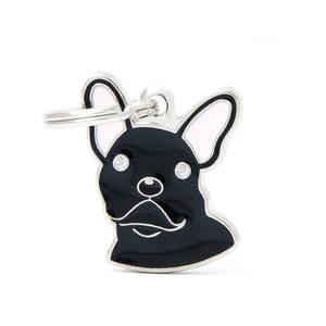 Médaille colors pour bulldog français noir en métal 227509