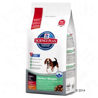 Croquettes canine adulte perfect weight medium au poulet 10 kg 229853