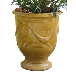 Vase Anduze tradition jaune en terre cuite émaillée H 68 x Ø 53 cm 230496