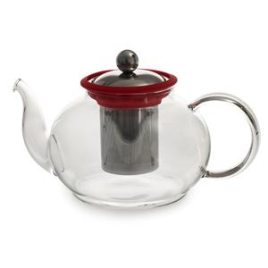 Théière Boro en verre 1 litre rouge Ø 14,5 x H 11 cm 230823