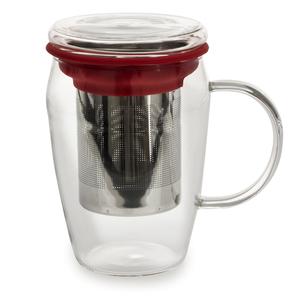 Mug infuseur en verre tisanière rouge 43 cl 230845