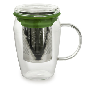 Mug infuseur en verre tisanière vert 43 cl 230846