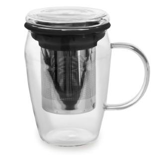 Mug infuseur en verre tisanière noir 43 cl 230847