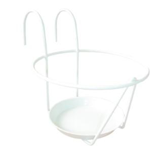 Porte pot avec soucoupe en métal blanc Ø 25 cm 231244