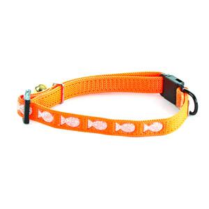Collier Argent pour chat orange motif poissons 231999