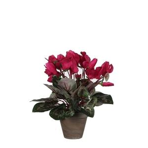 Cyclamen rose foncé plante artificielle en pot gris H 30 x Ø 30 cm 234153