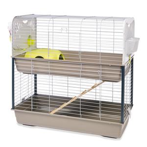 Cage pour lapin ou cobaye Caesar 3 double argent/vert 234283