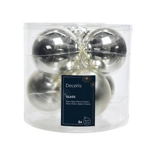 Boite de 6 boules de couleur argent brillant et mat – 8 cm de diamètre 235904