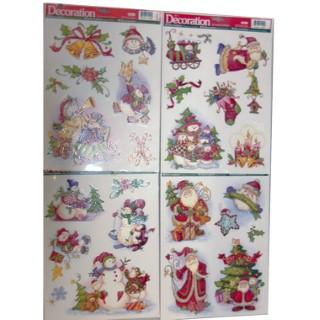 Etiquettes pour fenêtre Noël 4 assorties multicolores 242417