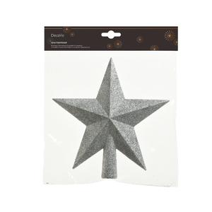 Cime étoile plastique pailletée couleur argent - 19 cm de haut 243905