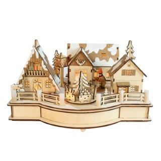Village de Noël en bois enneigé avec sapin animé et musical 246120