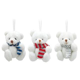 Ours blancs assis avec écharpe gris bleu ou rouge – 8 cm 246273