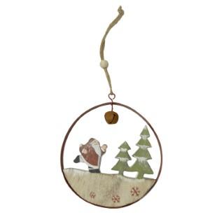 Suspension père Noël et sapins forme ronde bois 22,5 cm 247089