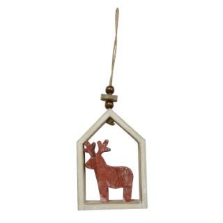 Suspension maison avec renne bois 24 cm 247097