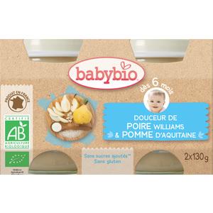 Petits pots douceur de poire Babybio 2 x 130 g 248198