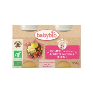 Petits pots pomme abricot et céréale Babybio 2 x 130 g 248205