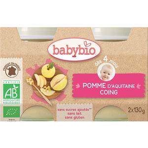 Petits pots pomme et coing Babybio 2 x 130 g 248207