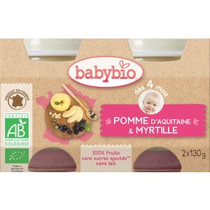 Petits pots pomme et myrtille Babybio 2 x 130 g 248208