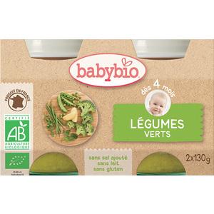 Petits pots de légumes verts Babybio 2 x 130 g 248211