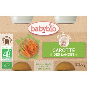 Petits pots de carotte des Landes Babybio 2 x 130 g 248214