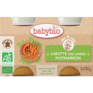 Petits pots de carotte et potimarron Babybio 2 x 130 g 248215