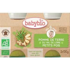 Petits pots de pomme de terre et petits pois Babybio 2 x 130 g 248217