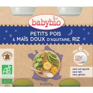 Pots de petits pois maïs et riz bonne nuit Babybio 2 x 200 g 248220