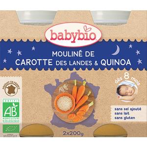 Mouliné de carotte des Landes et quinoa bonne nuit Babybio 2 x 200 g 248222