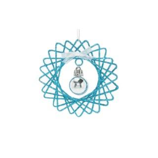 Fleur pailletée bleue avec boule à suspendre 248259