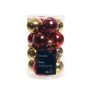 Boules en verre mix classic rouge ou or Ø 3,5 cm en boite de 16 249886