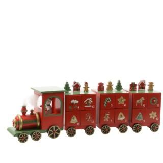Calendrier Avent Train MDF 48x9,5x15 cm 250095