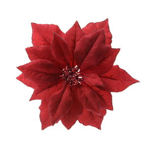 Poinsettia en tissu rouge sur clip D 24cm 250156