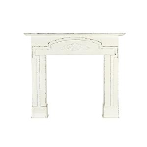 Manteau de cheminée blanc en bois 120x102 cm 250319