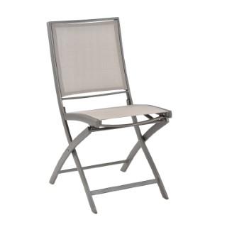 Chaise pliante KENEAH muscade / toile de lin 256829