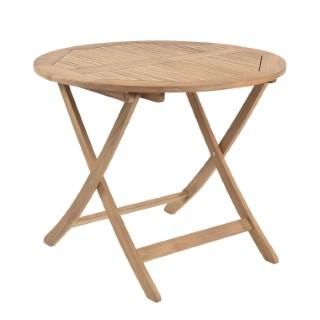 Table de jardin ronde de 90 cm en teck massif 259663