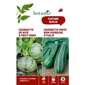Courgette de nice a fruit rond + courgette verte non coureuse Duo potagere 261353