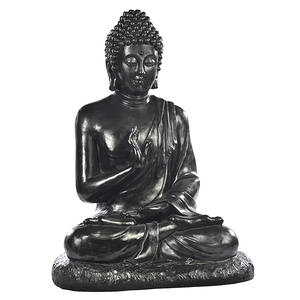Bouddha assis en béton coulé ciré noir ardoise Très grand modèle 80 cm 263342