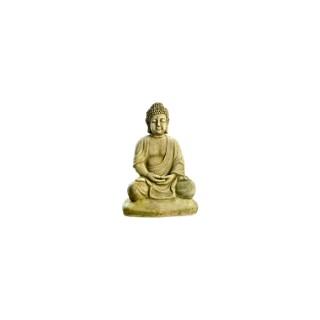 Bouddha sur socle imitation pierre patinée 38 cm 263345