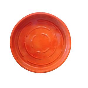 Soucoupe ronde en terre cuite émaillée orange D.30 264345