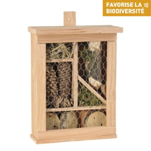 Hôtel à insectes carré en bois coloris naturel 264360