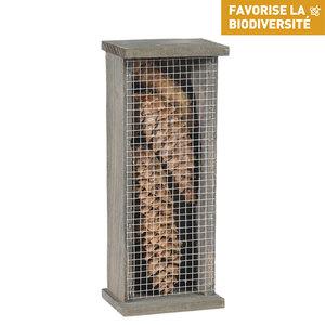 Abri pour chrysopes en bois coloris gris 264371